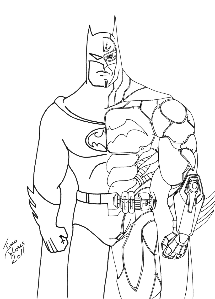Batman Tattoo Outline Drawings Sketch Coloring Page