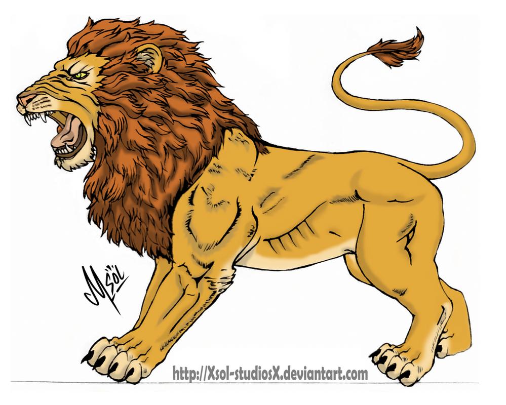 Leon Rugiendo/ Leon roaring by XSol-StudiosX on DeviantArt