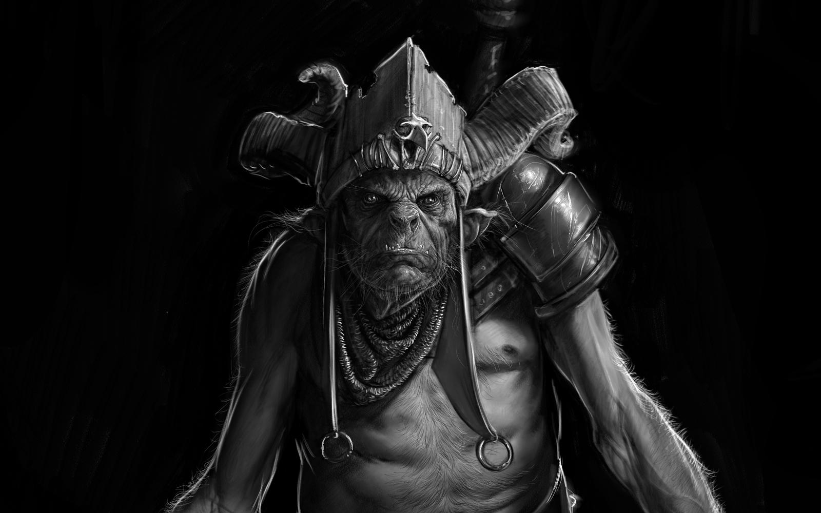 Orc Sketch detail by PaulMellender