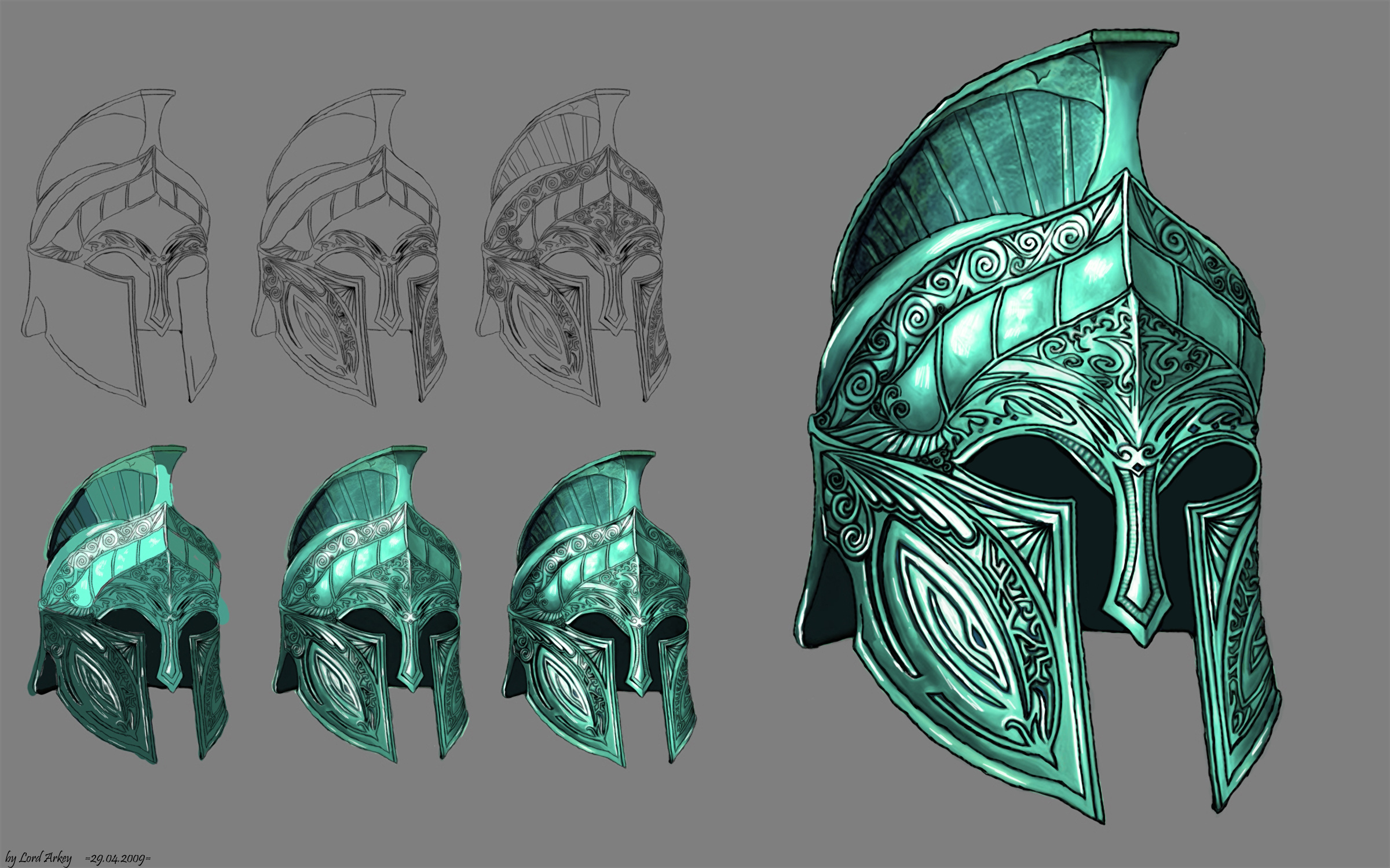 Fantasy Knight Helmet Drawing