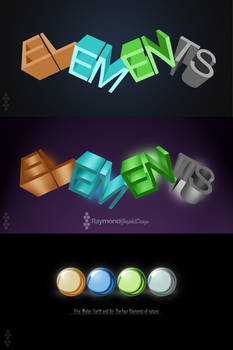Elements 3D Logo - Fire, Water, Earth and Air