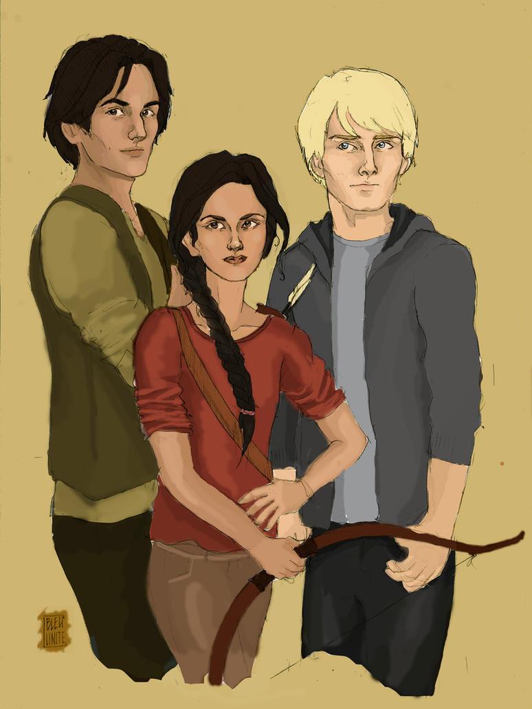HG: Katniss, Gale and Peeta by Bleunite on DeviantArt  Katniss And Peeta Fan Art Love