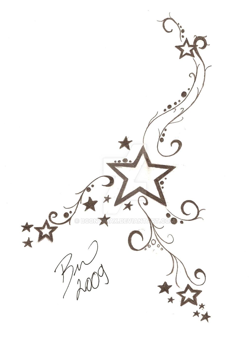 Рисунок звезд для тату