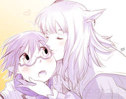 Miqo'te and Lalafell Kiss for Cicicolino by lita426t