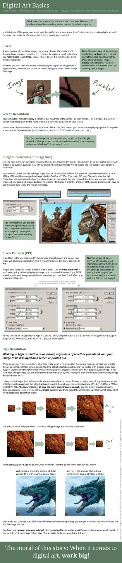 Tutorial: Digital Art Basics and Image Size Terms