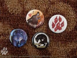 Werewolf Pinback Buttons by Nightlyre