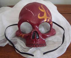 Skull Half Mask - Red and Gold Tribal Flame