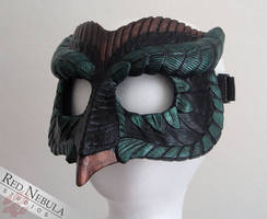 Black, Green, and Copper Owl Mask