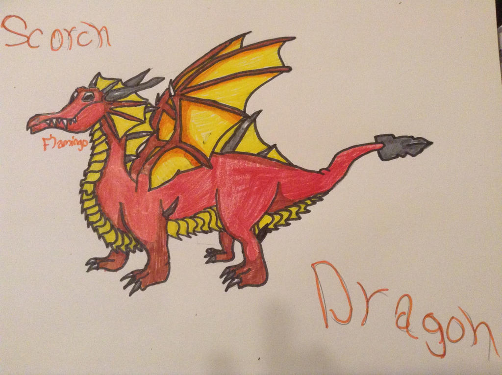 Scorch Dragon - DragonVale |Art Trade| by FlamingGatorGirl
