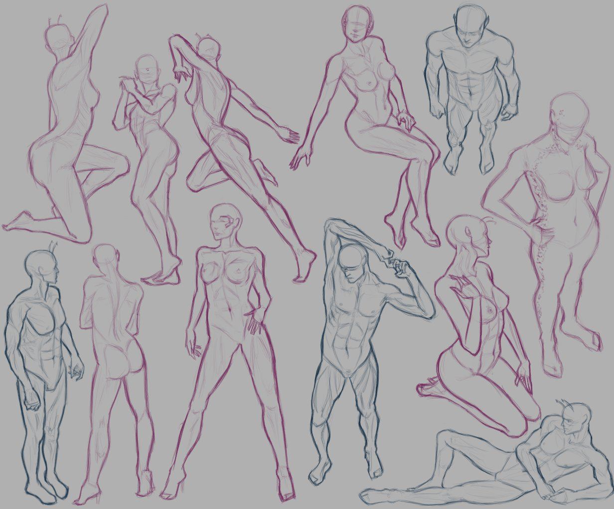 Как рисовать позы фото