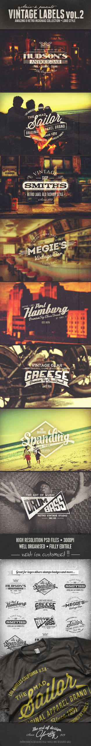 Vintage Labels PSD Retro Badges Vol.2 by yAniv-k