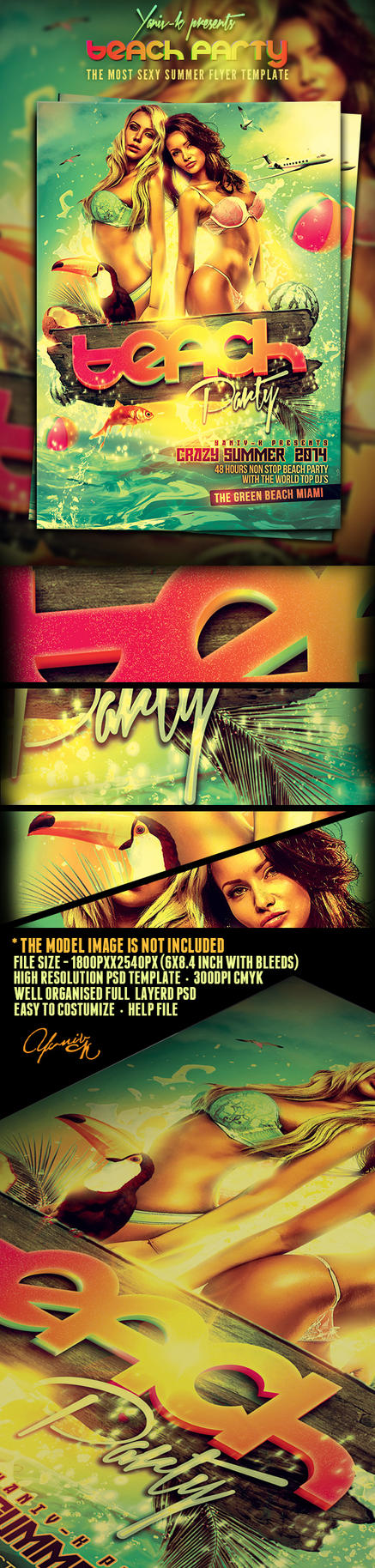 Sexy Beach Party PSD Flyer Template Preview Image by yAniv-k