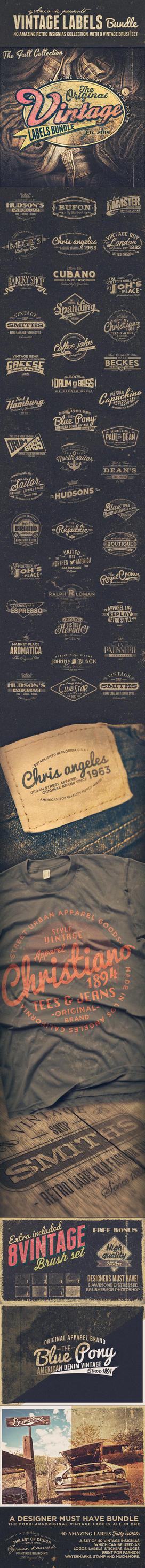 Vintage Labels PSD Insignias Badges Logo Pack by yAniv-k
