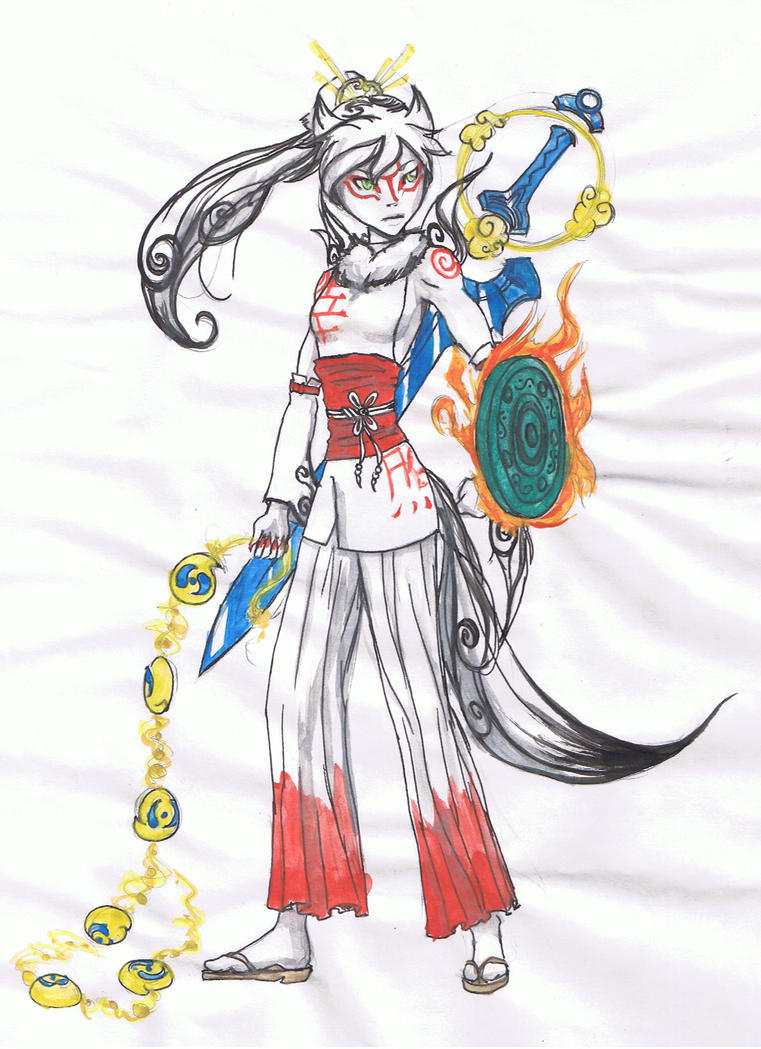 amaterasu human with weapons by pandavogel on deviantart