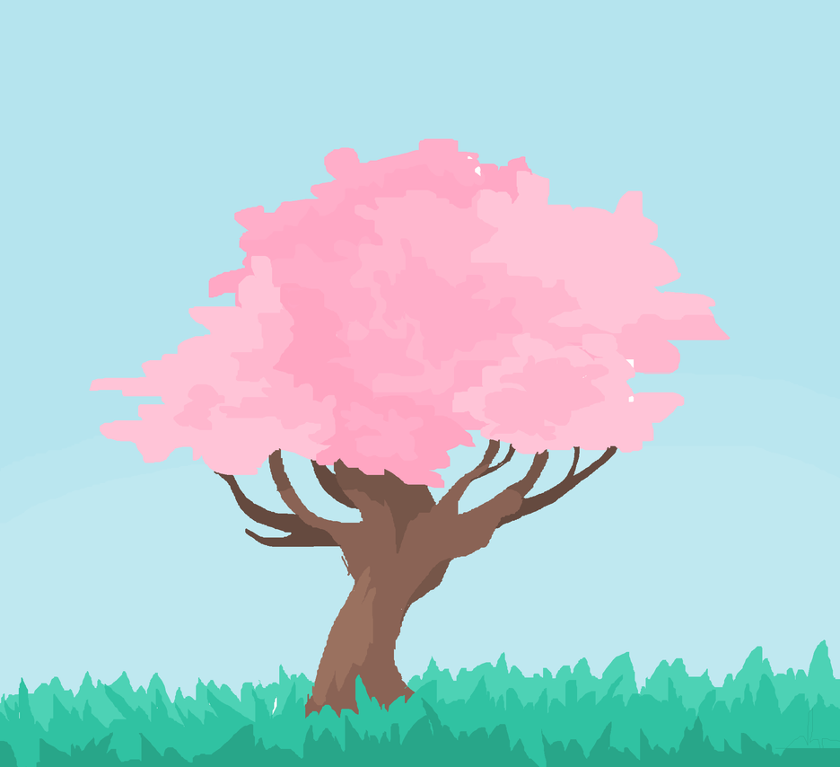 how to draw a easy cherry blossom tree