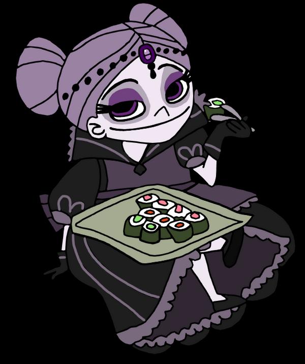 Zhan Tiri eating sushi