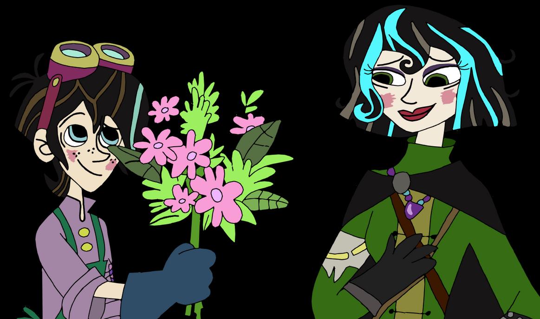 Varian giving Cassandra flowers