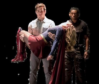 Kara Danvers, Mon-El, and J'onn J'onzz Render