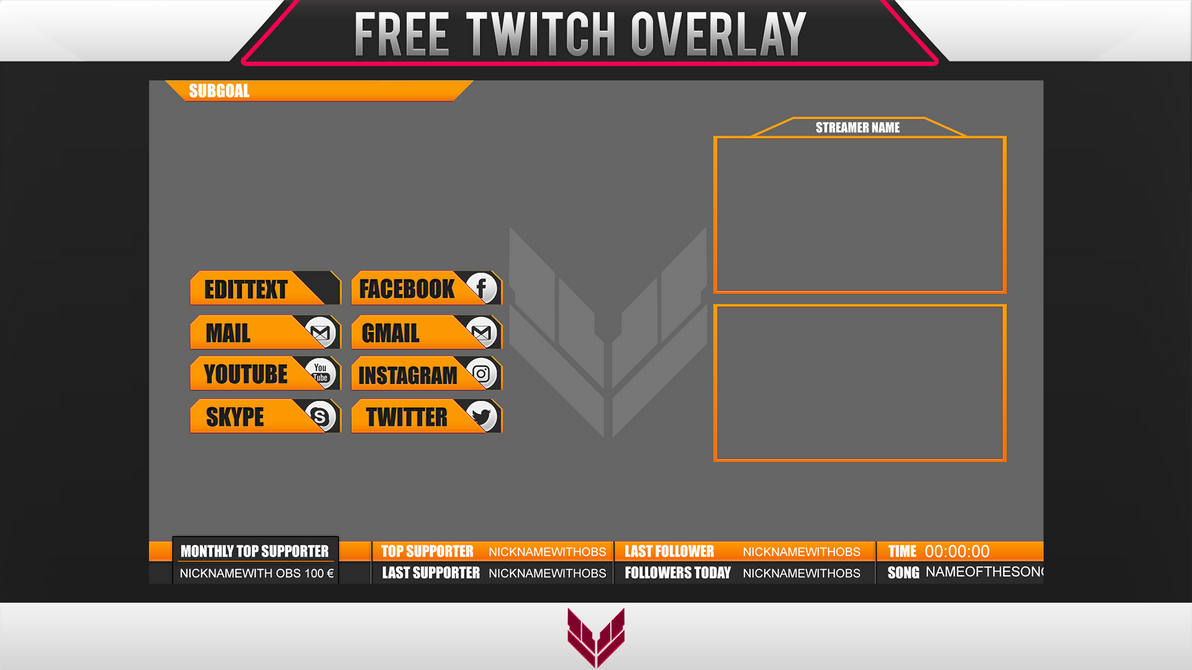 Template free twitch overlay 4 by ayzs on deviantart for Free twitch overlay template
