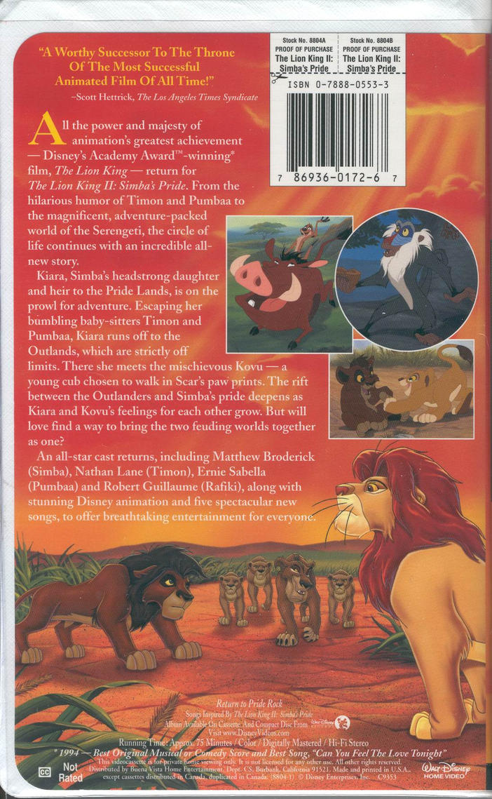 the lion king 2 simba u0026 39 s pride vhs