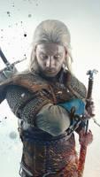 Geralt o Rivia cover art portrait