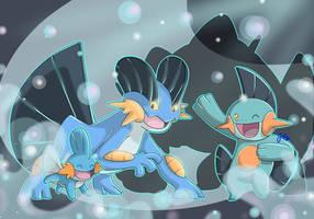 [SpeedArt] Pokemon: Mudkip, Marshtomp, Swampert by JaidenAnimations