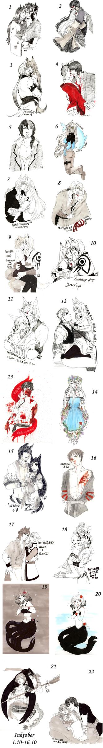 Inktober 1-16 by yukifubuki