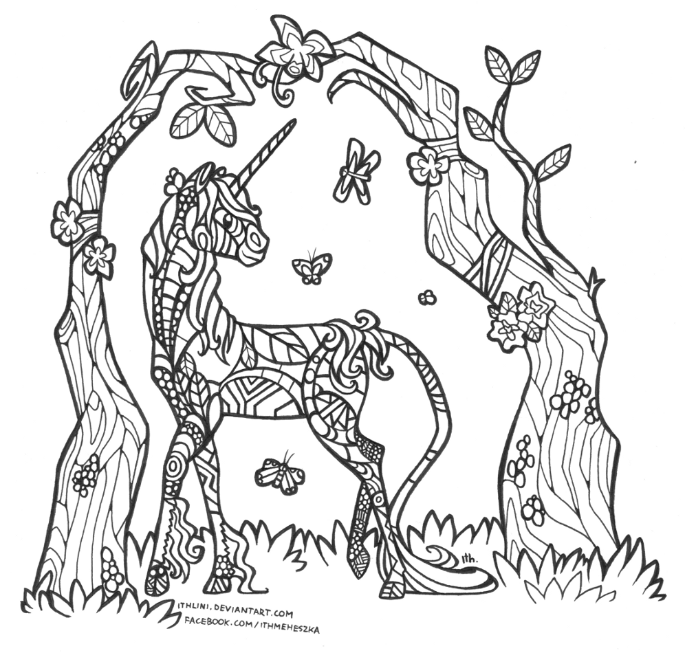 antistress colouring page  unicorn gardenithlini on