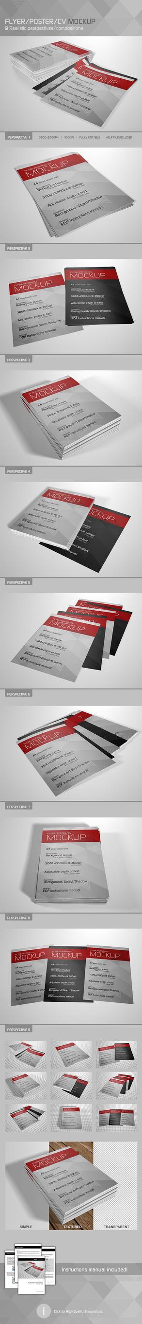 Realistic Flyer/Poster/CV Mockup 3 by Kipet