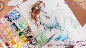 vegan mermaid in water color