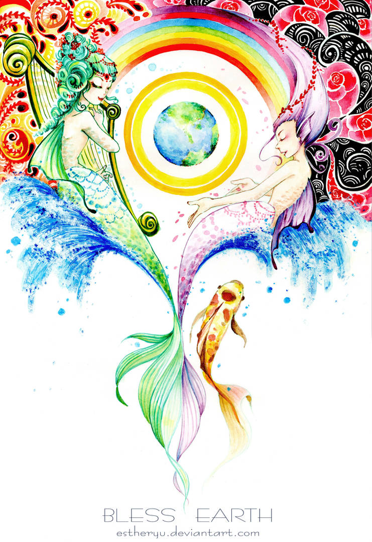 Vegan share: mermaids Bless earth by Estheryu