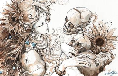 DOODLE: Sunflower Skull