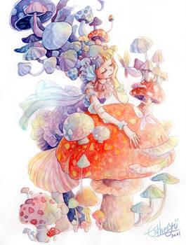 mushroom monster water color