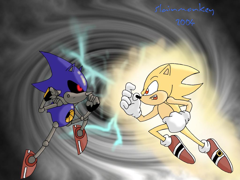 Super Sonic Vs Metal Sonic By Slainmonkey On Deviantart