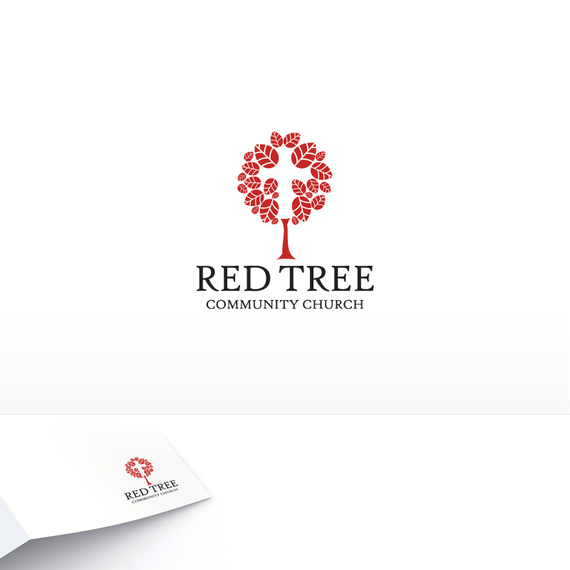 Church Logos, Tree RED TREE CHURCH logo b...