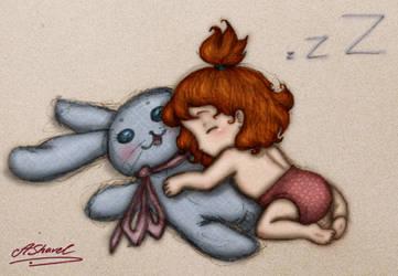 Sweet dreams, little Elly by ArinaFoxy