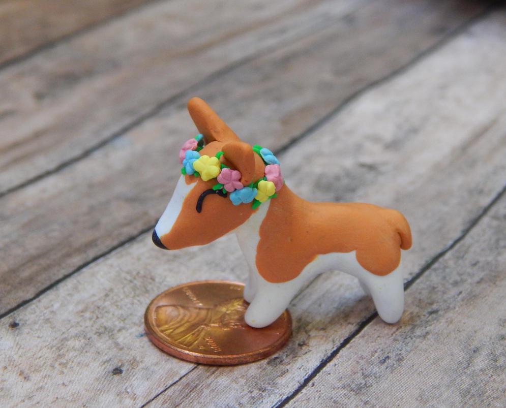 Flower Crown Corgi Sculpture by TinyBlissfulness