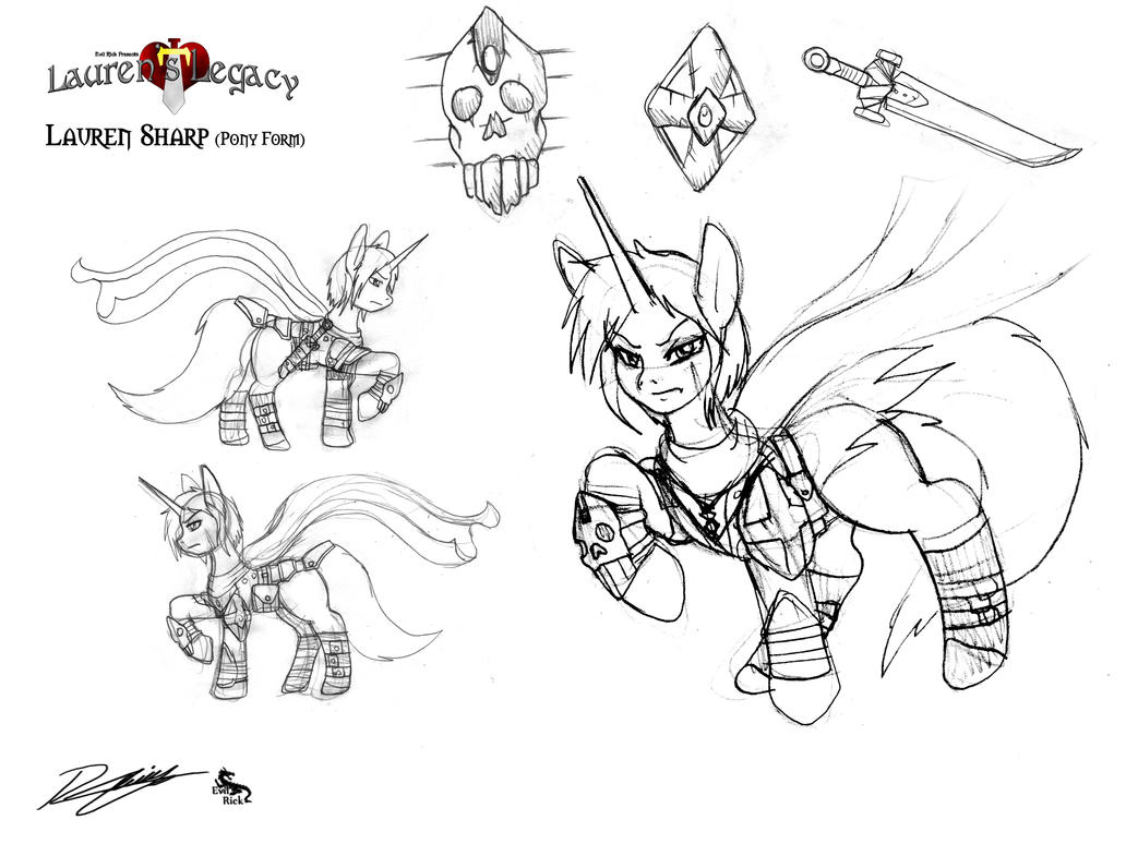Lauren Sharp pony form_Concept art by Evil-Rick