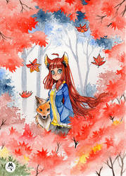 Watercolor . The fox by Paulinaapc