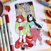 Inktober 2017 day 17 - Kitsune and Eunbooh