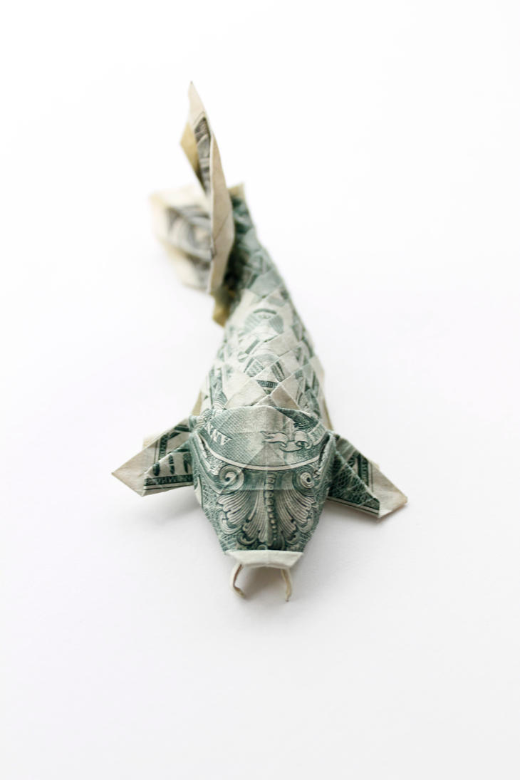 Pin origami money shark image search results on pinterest for Dollar bill koi fish