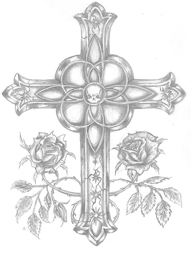 Cross and roses  drawing by WingedcatKimmie on DeviantArt