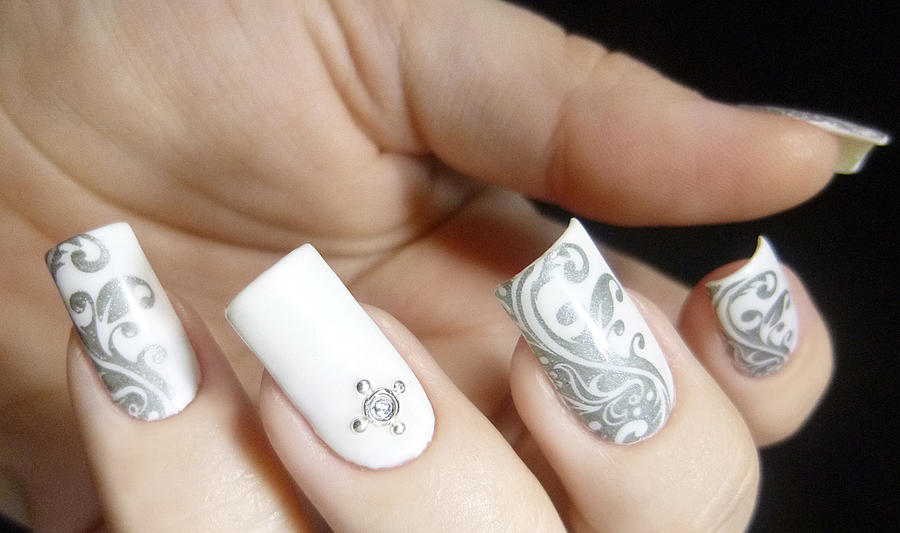 Easy White And Grey Stamped Nail Art By Tenlittlecanvases On Deviantart
