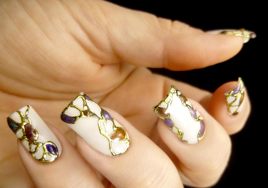 Abstract Gold Foiled Nail Art Design By Tenlittlecanvases On Deviantart