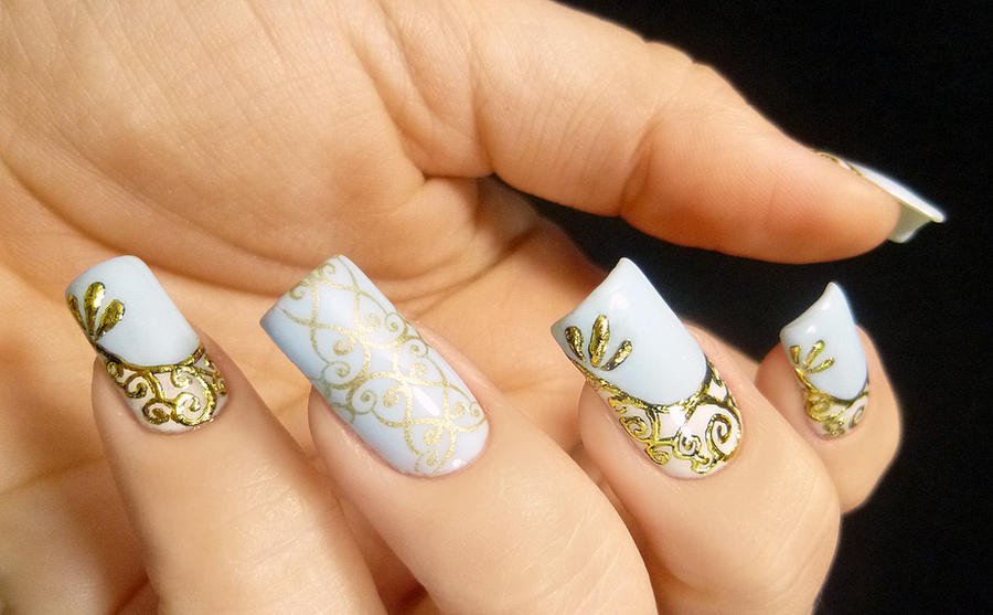 Gold Scrolled and Stamped Nail Art by TenLittleCanvases on DeviantArt