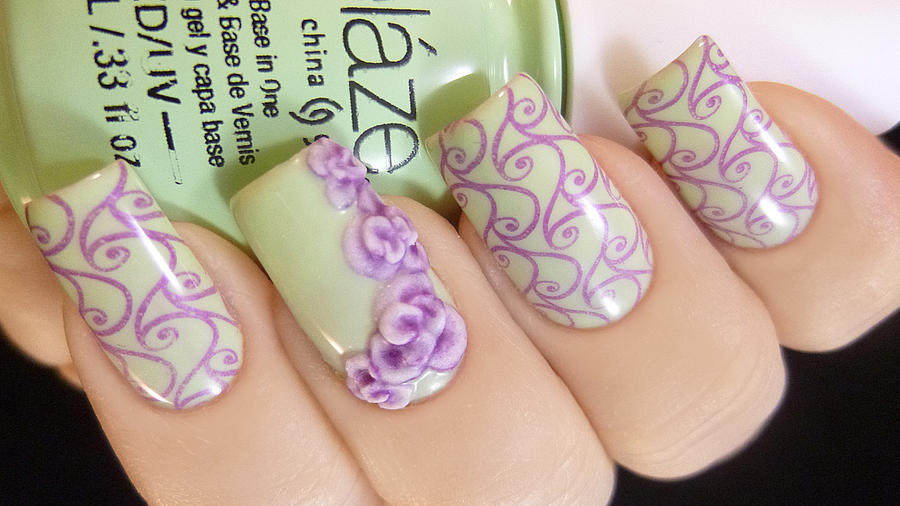 Green and purple nail art with 3d acrylic flowers by green and purple nail art with 3d acrylic flowers by tenlittlecanvases prinsesfo Images