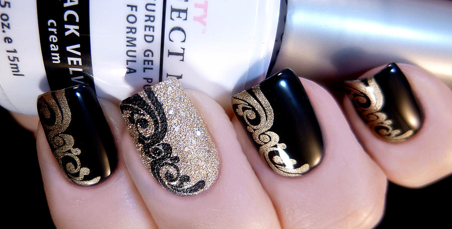 Black And Gold Stamped Nail Art By TenLittleCanvases