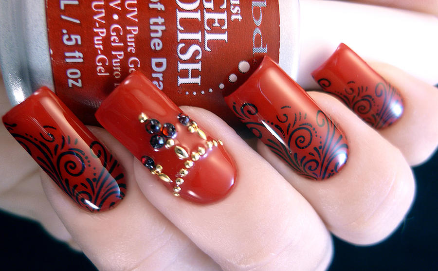 Red Stamped Nail Design With Swarovski Gems By Tenlittlecanvases On