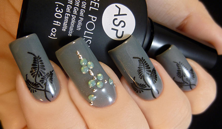 Grey Stamped and Jeweled Nail Art by TenLittleCanvases on DeviantArt