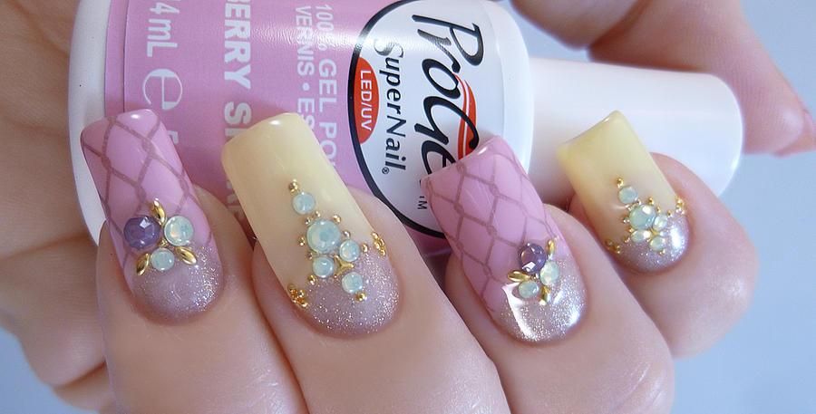 Spring Inspired Jeweled Nail Art by TenLittleCanvases on DeviantArt